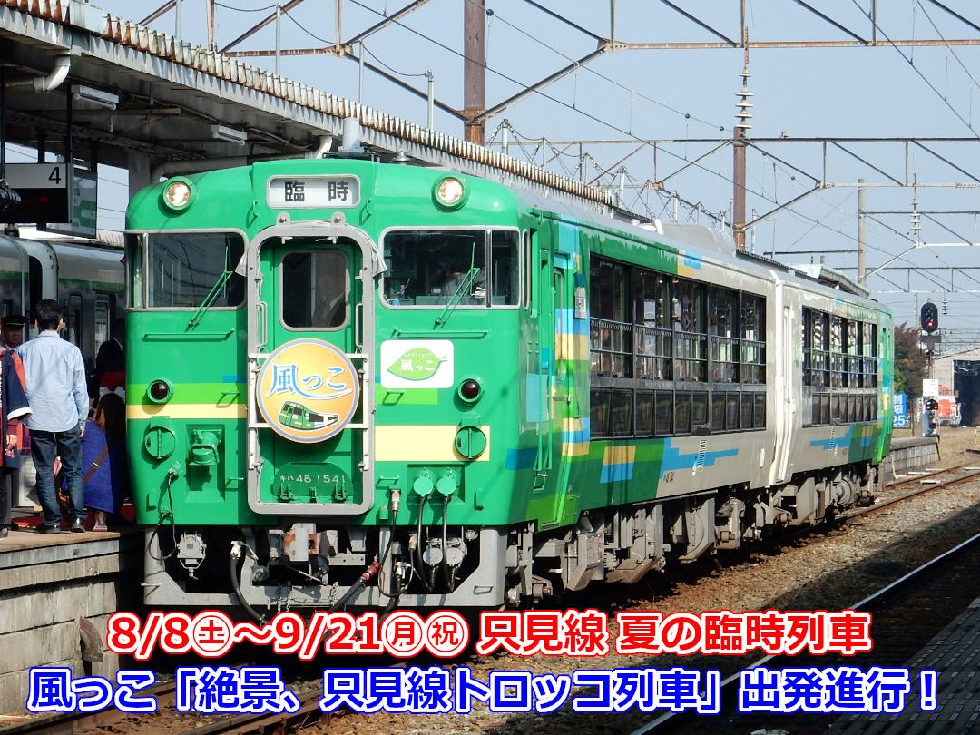 JRビュースター風っこ「絶景、只見線トロッコ列車」写真